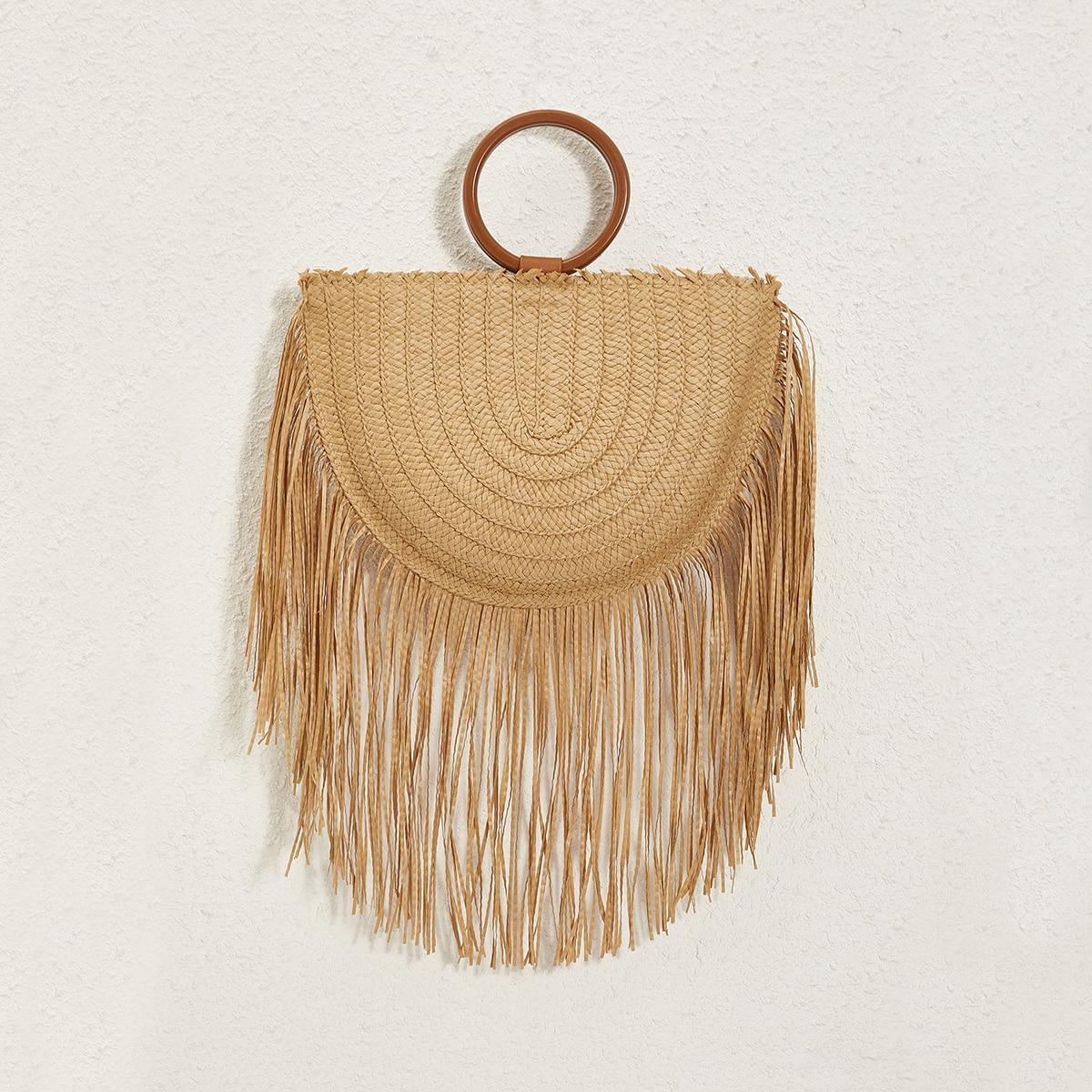 Плетеная сумка-сэтчел с бахромой