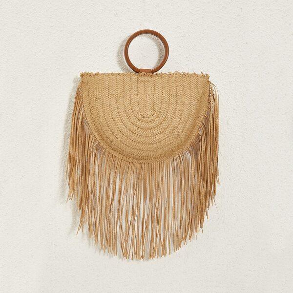 Fringe Decor Plaited Straw Bag, Khaki
