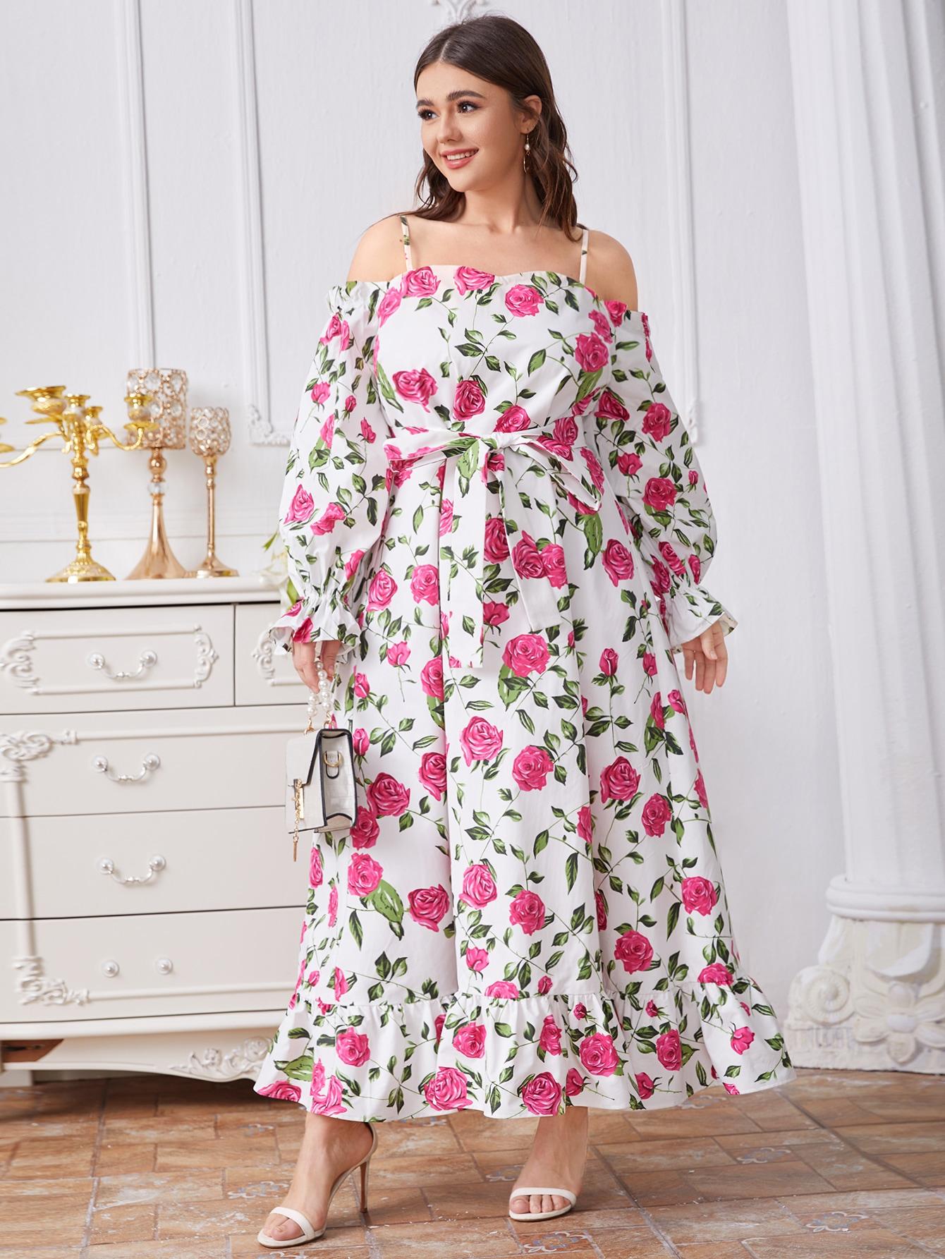 Plus Cold Shoulder Self Belted Floral Dress