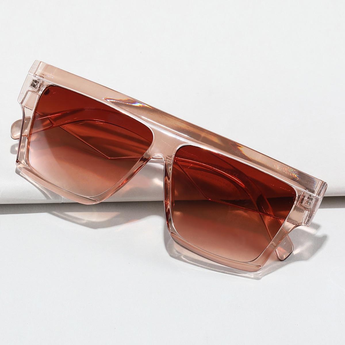 Sonnenbrille mit flacher Oberteil und transparentem Rahmen