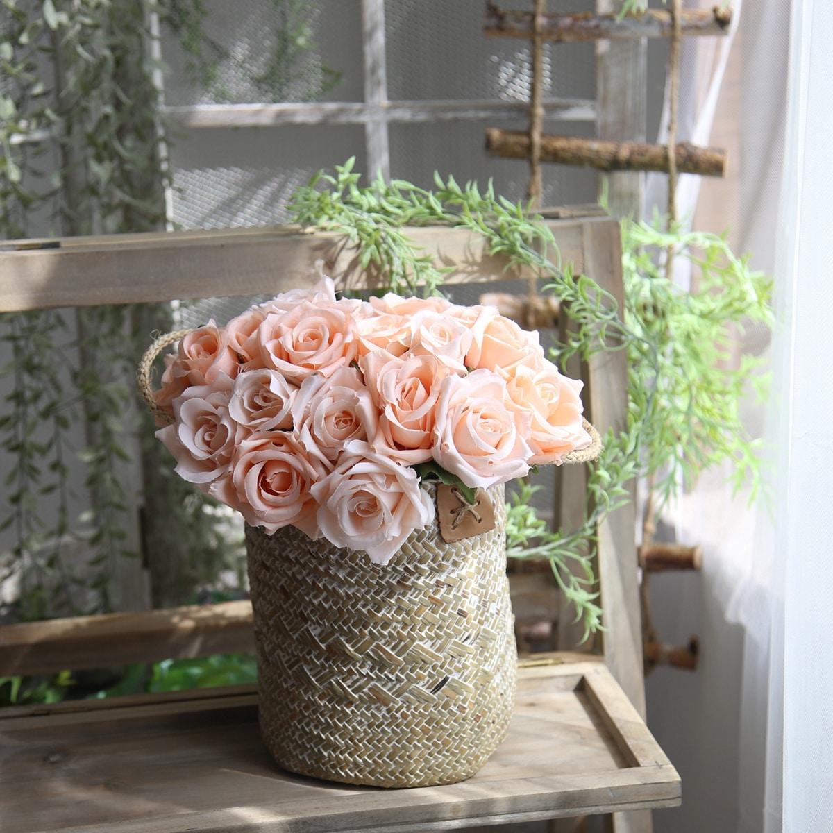 9 Zweige künstliche Rose