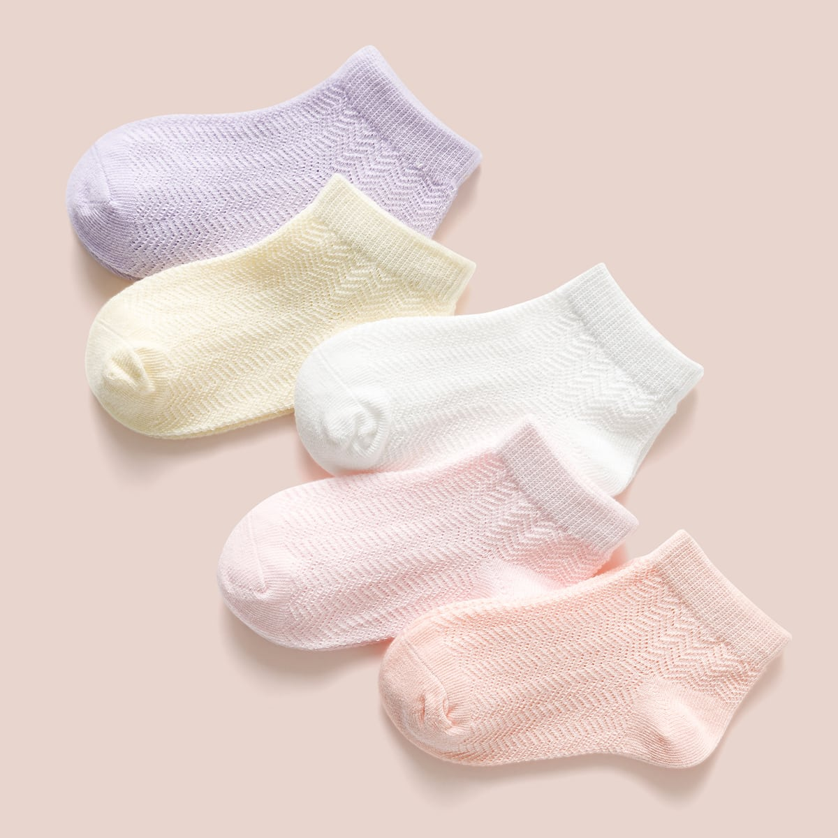 SHEIN / 5pairs Girls Plain Socks