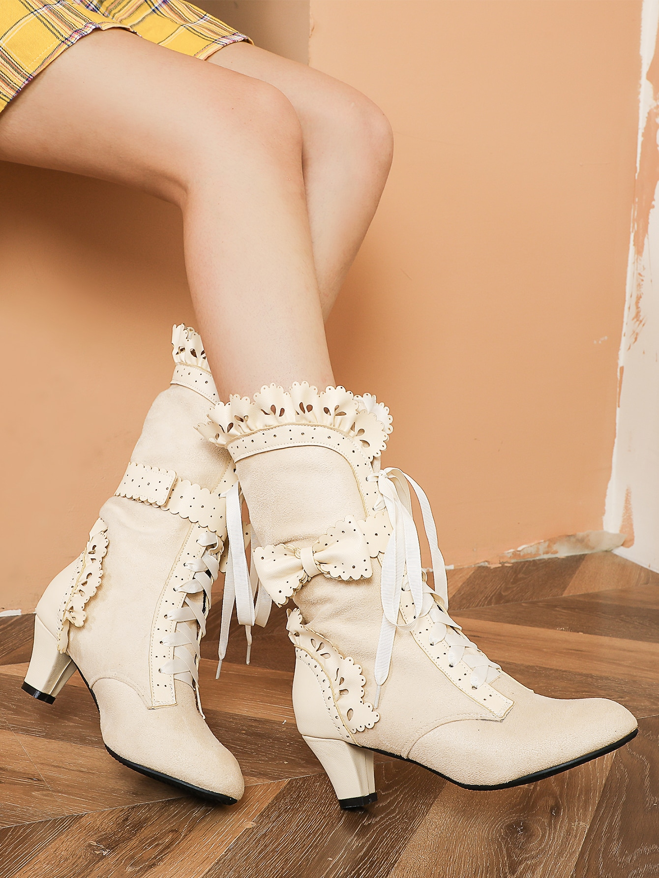 Scallop Trim Lace Up Mid Calf Boots