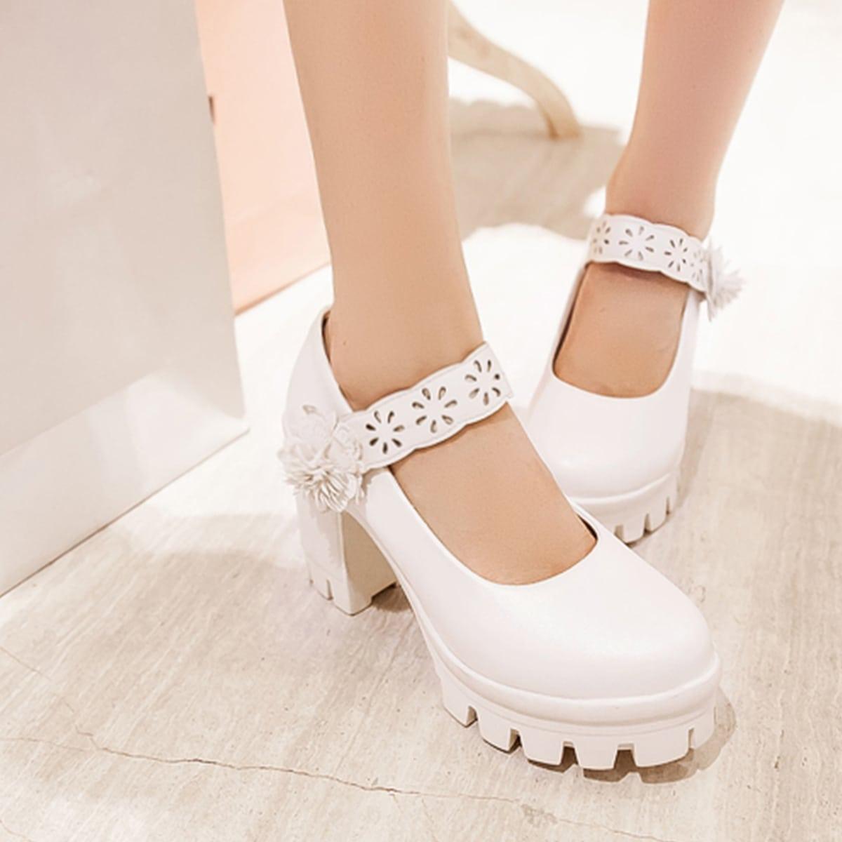 Туфли-лодочки на высоком каблуке с цветком