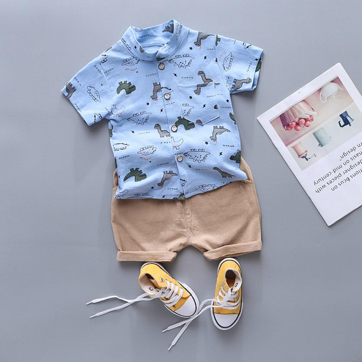 Toddler Boys Cartoon Dinosaur Shirt With Shorts