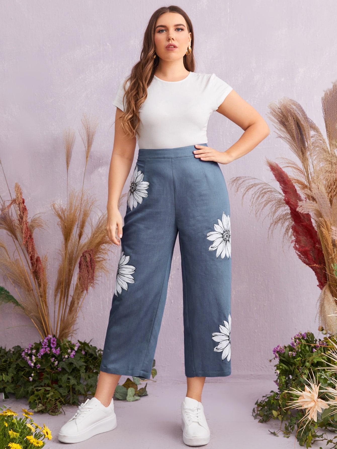 Plus Floral Print High Waist Pants
