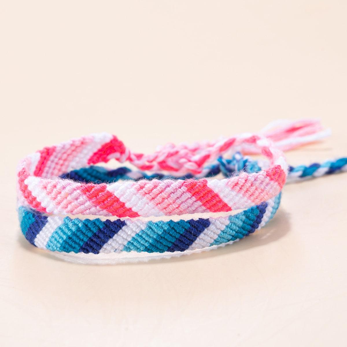2шт Разноцветный плетеный браслет