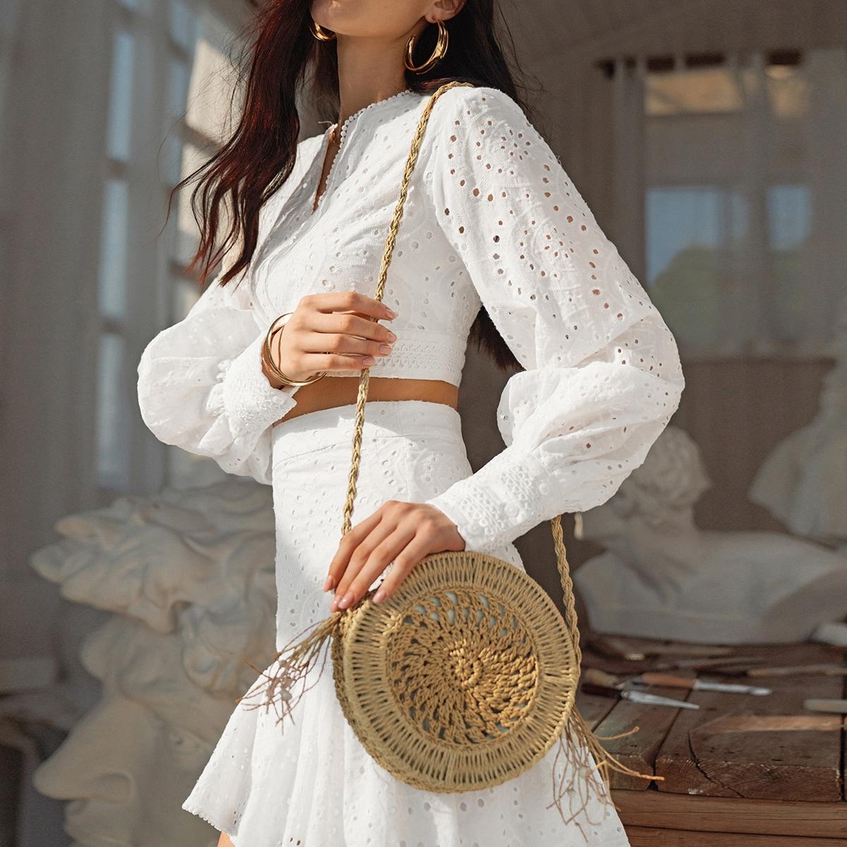 Соломенная круглая сумка