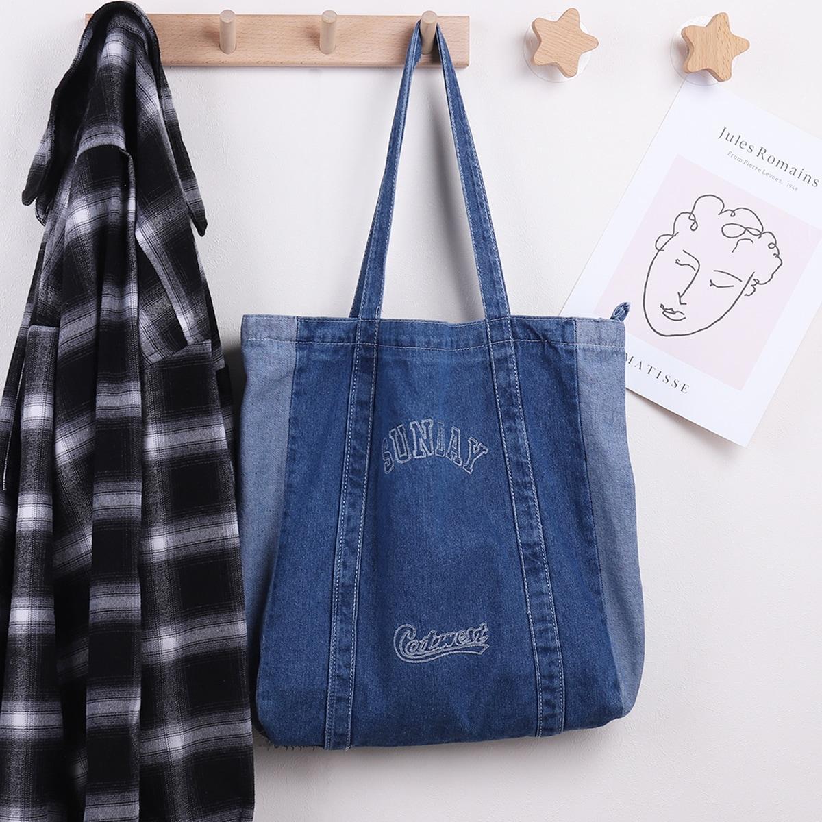 Джинсовая сумка-шоппер с текстовым принтом