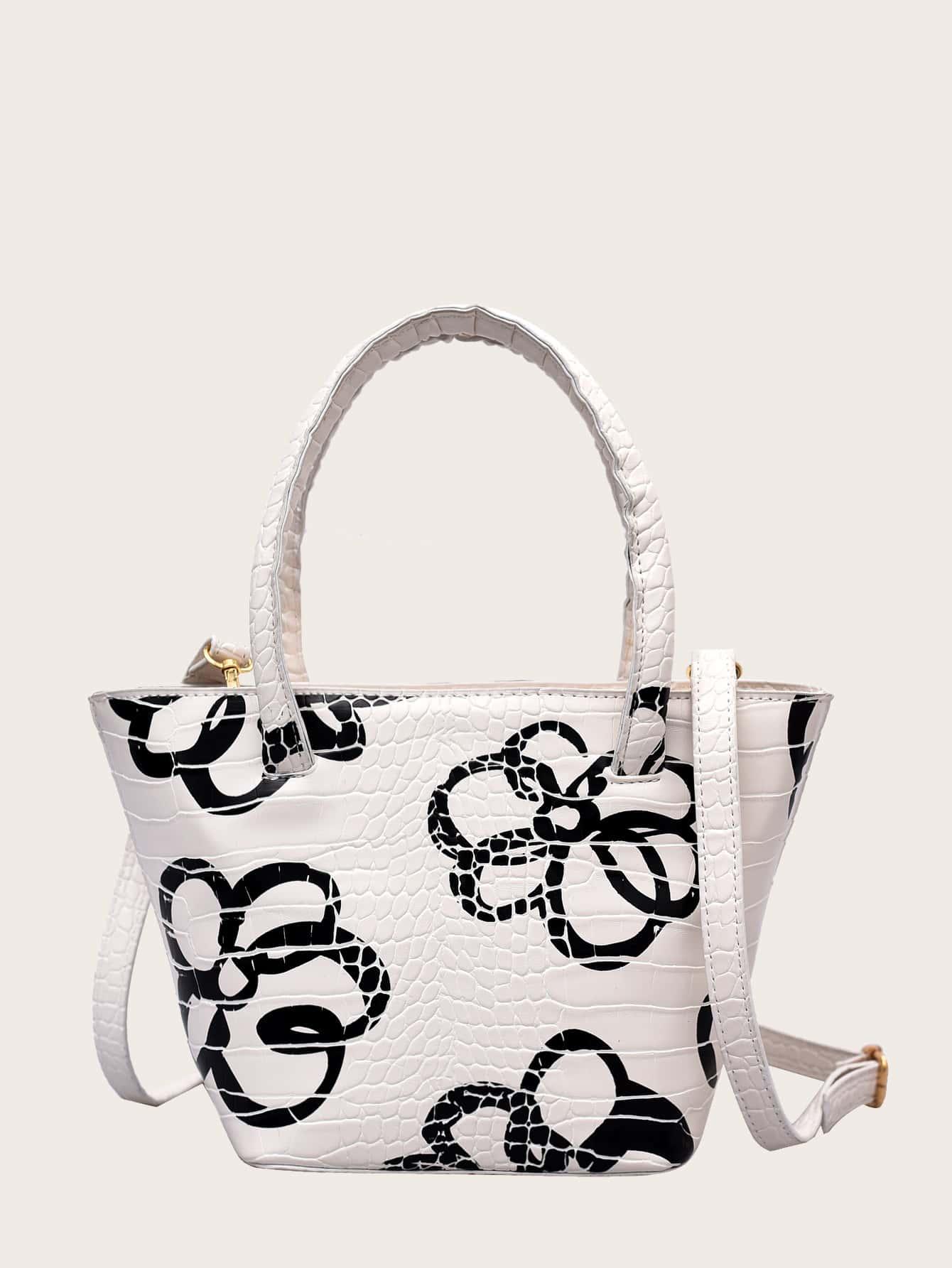 croc embossed floral satchel bag