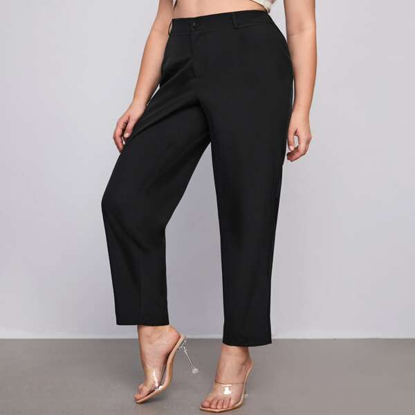 Plus High-rise Button Fly Tailored Pants, Black