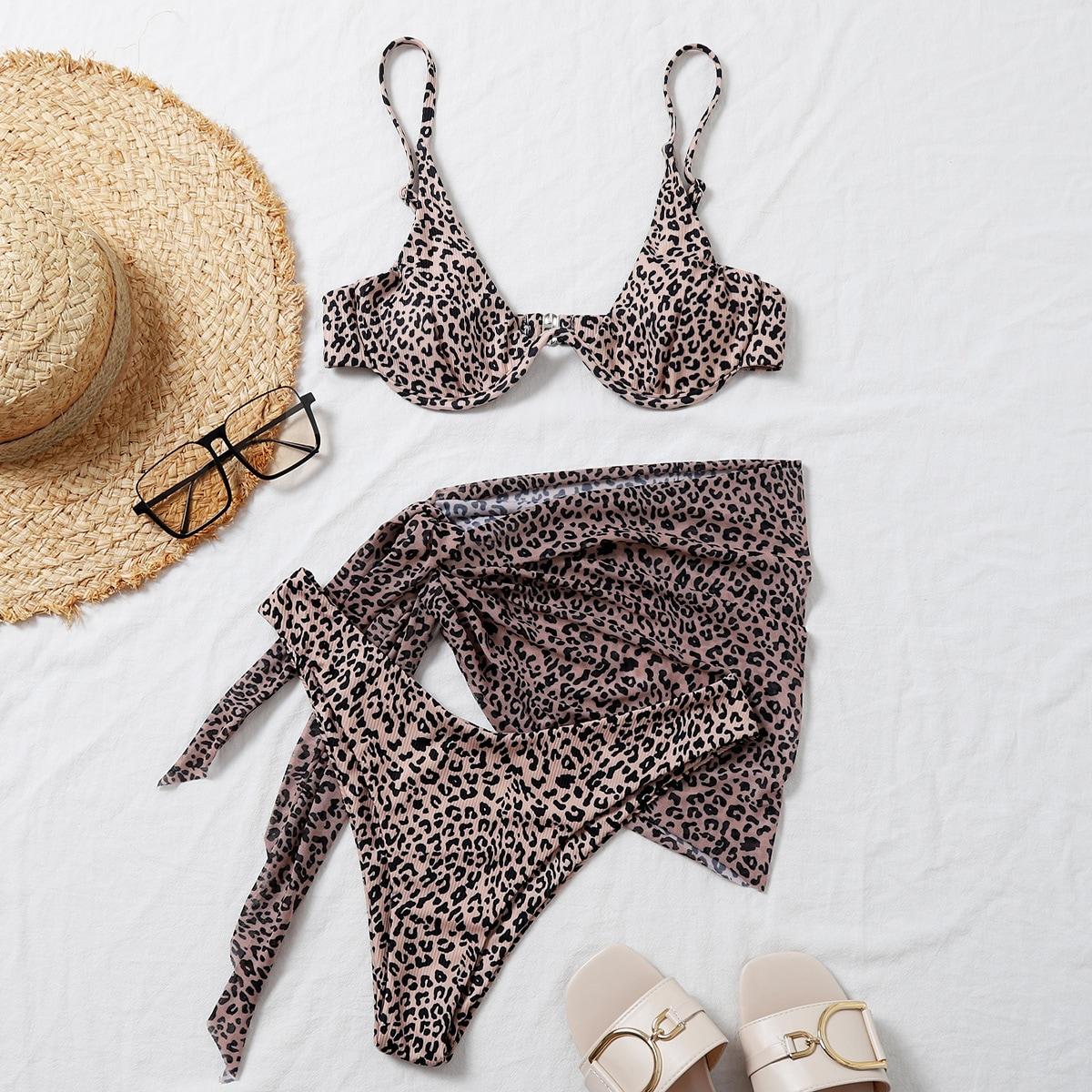 Пляжная юбка и бикини на косточках с рисунком 3шт