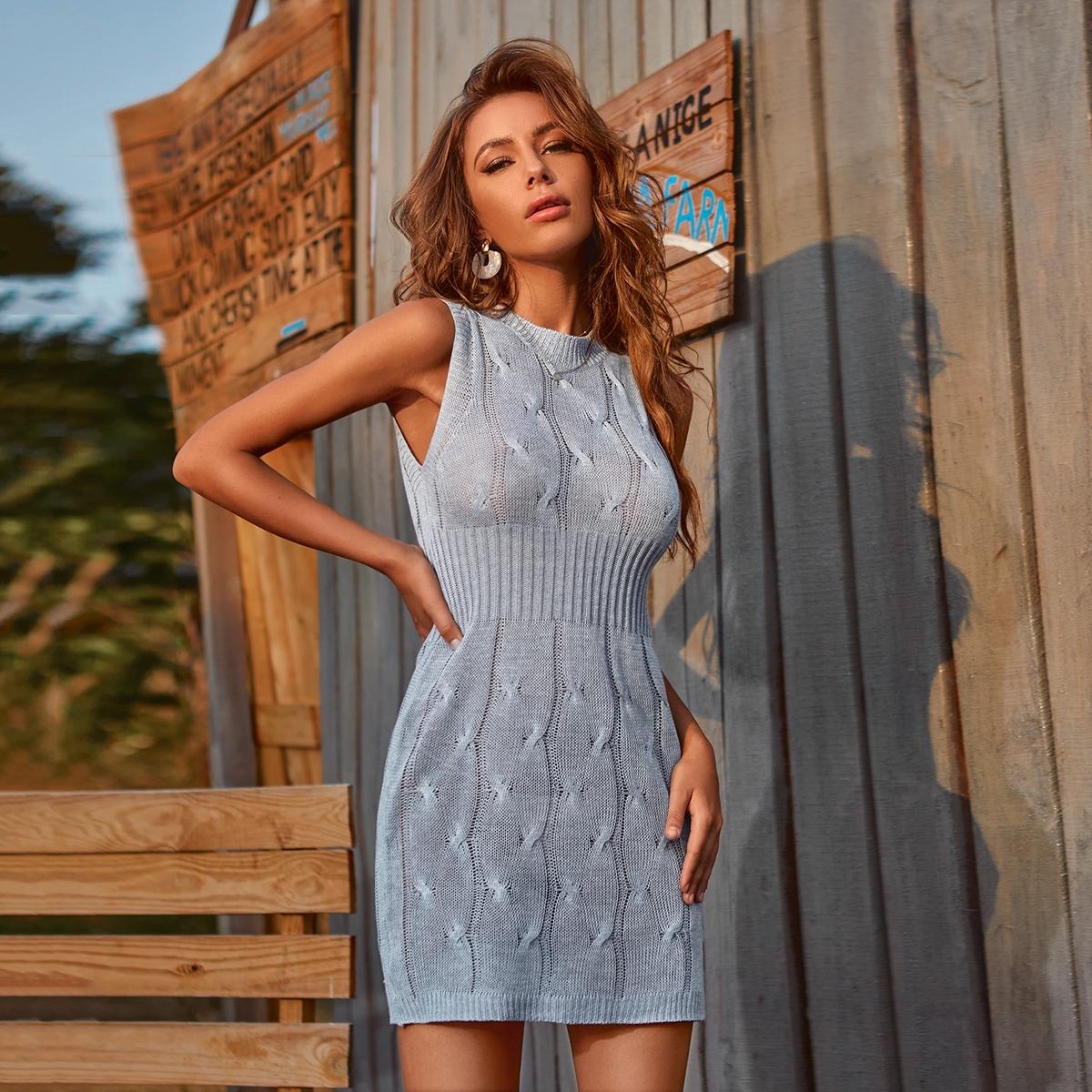 SHEIN Elegant Vlak Gebreide jurk