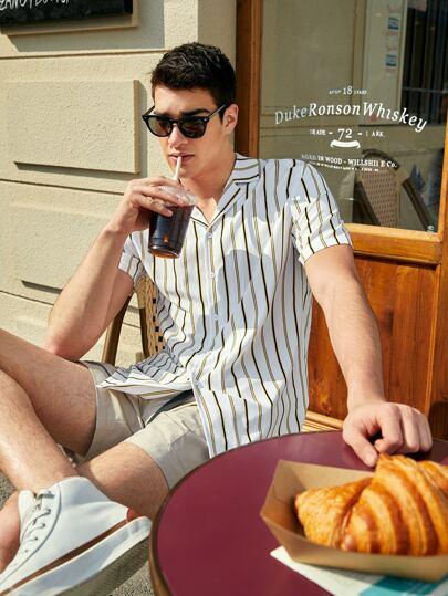 Men Notched Collar Striped Shirt