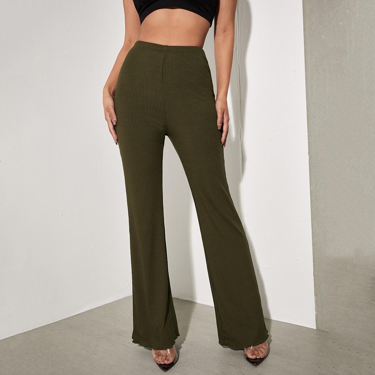 Вязаные брюки в рубчик с высокой талией