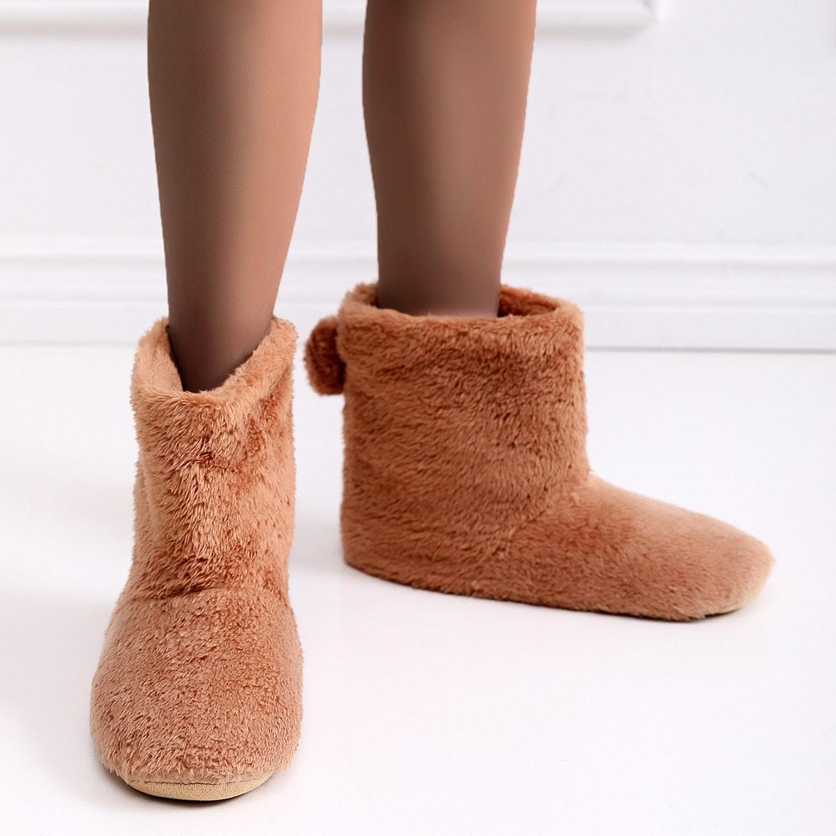 SHEIN Fluffy pompons versierde sloffen laarzen