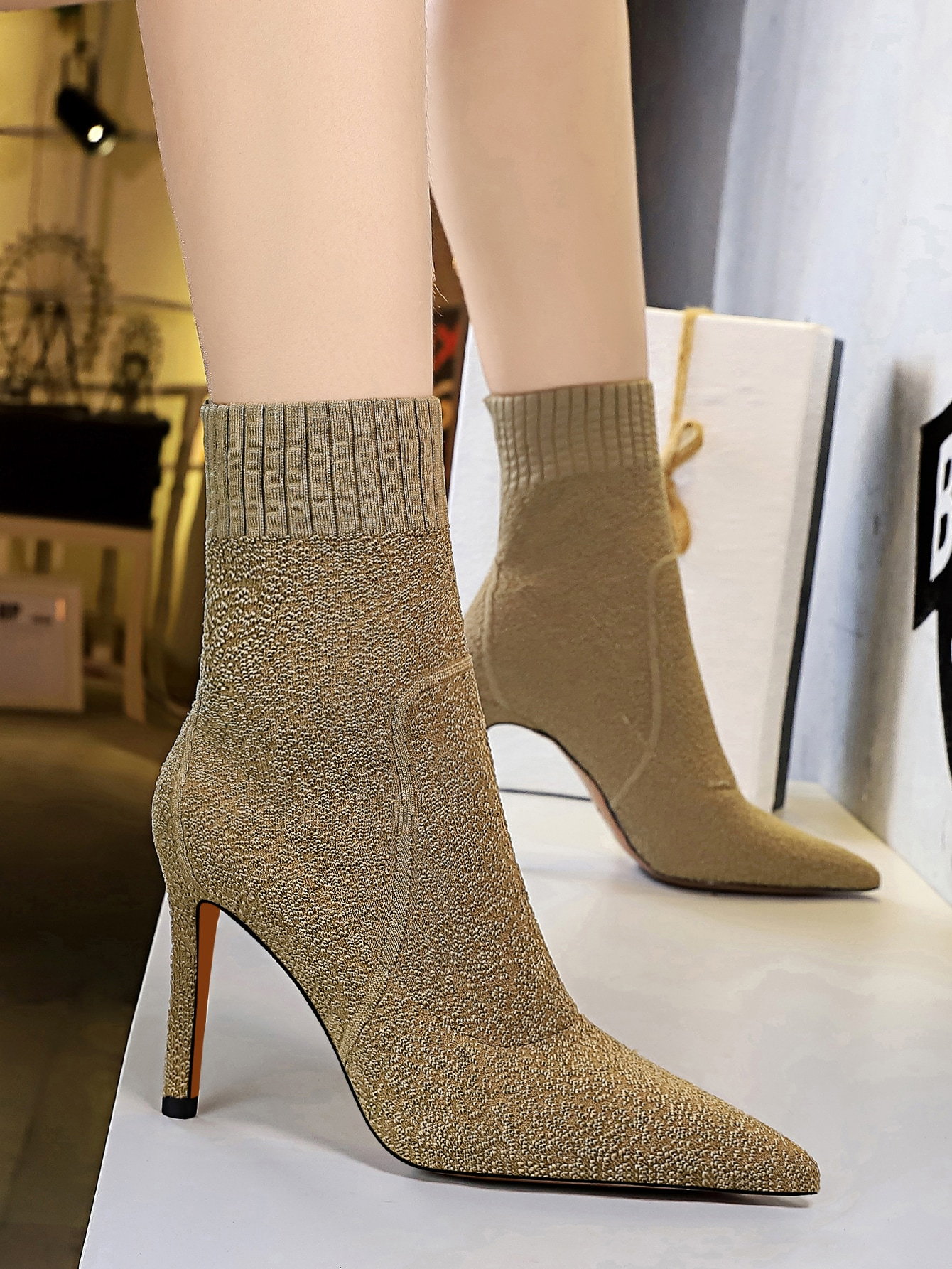 Point Toe Stiletto Heeled Sock Boots