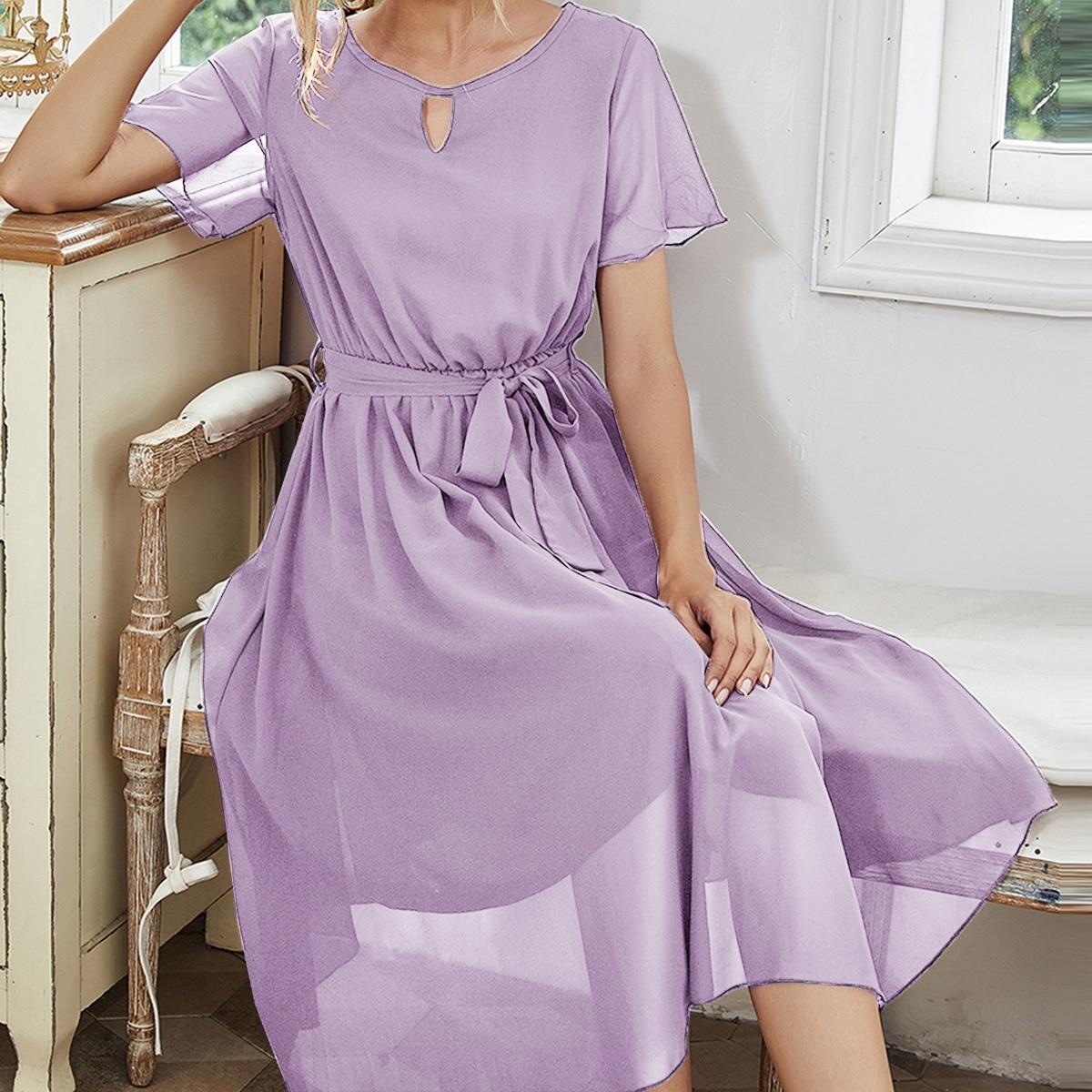 с разрезом Одноцветный Романтический Платье