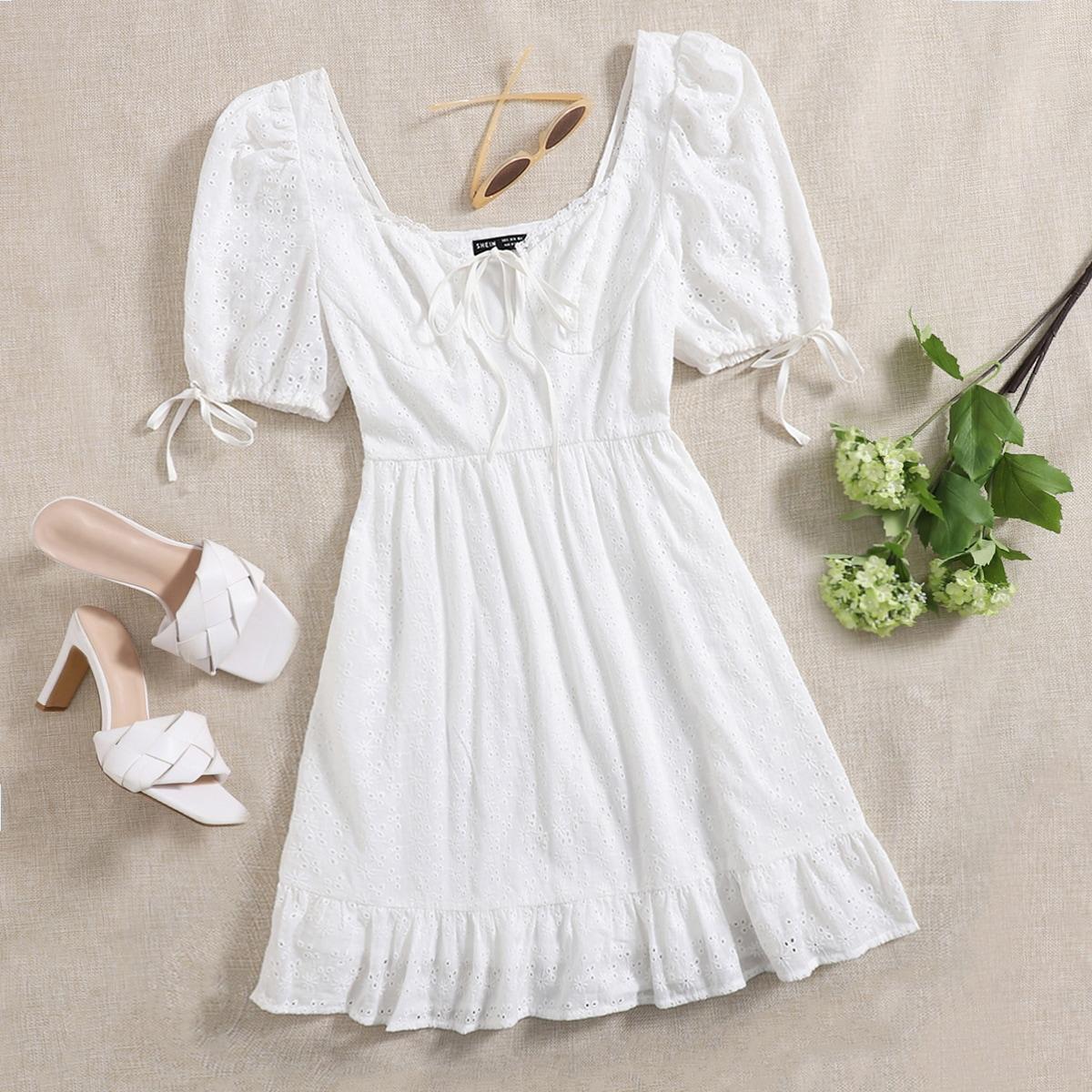 Платье с глубоким декольте с узлом SheIn swdress07201214359