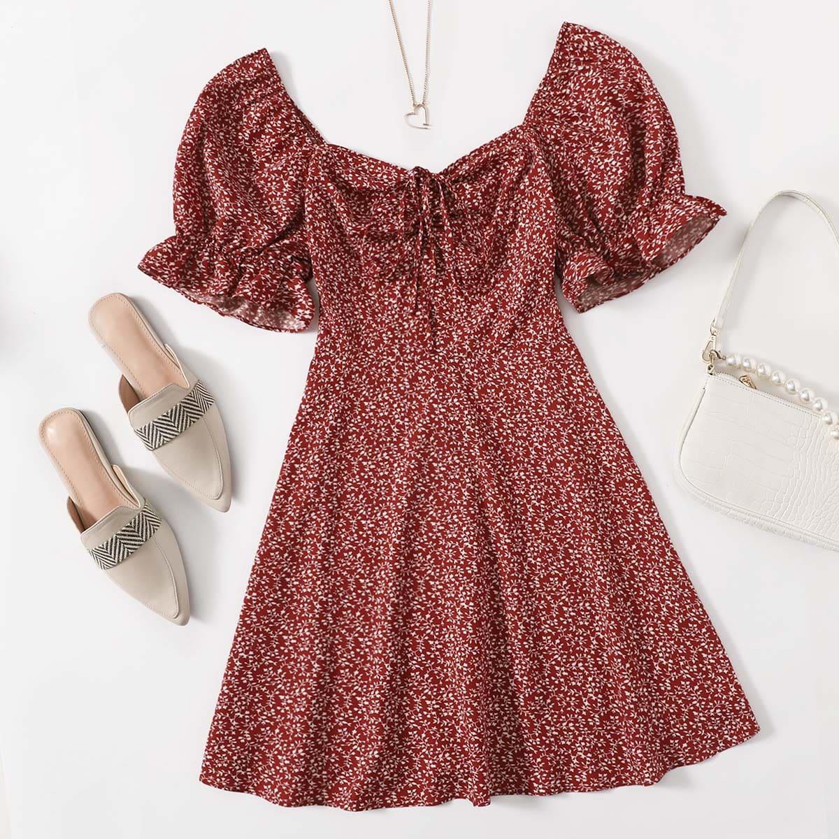 Платье размера плюс с пышными рукавами и графическим принтом