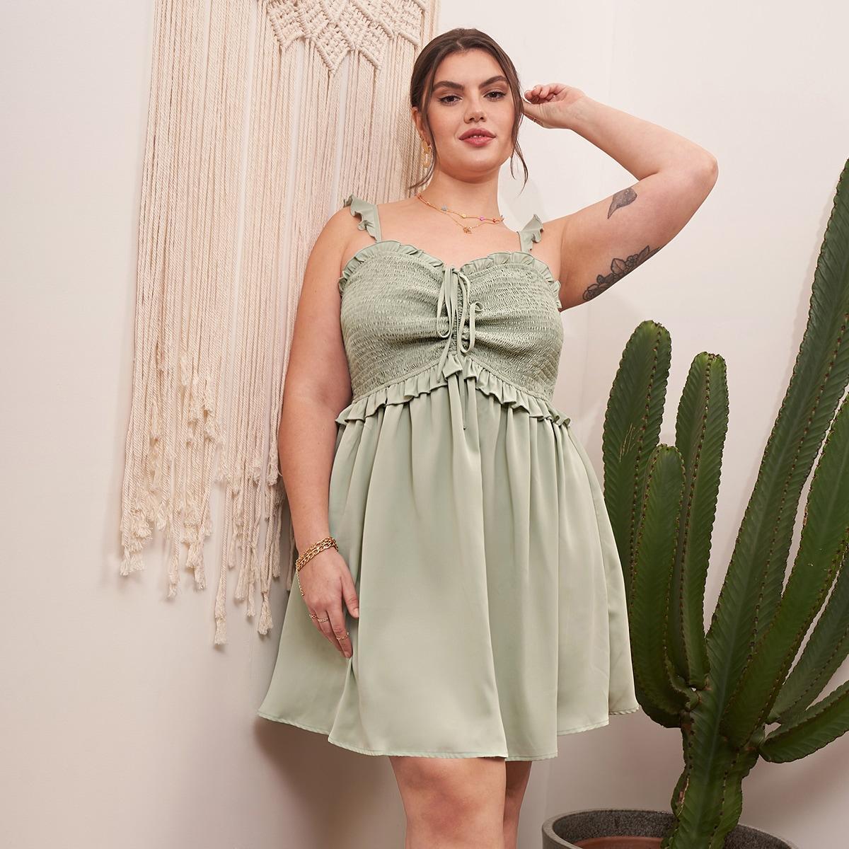 Оригинальное платье размера плюс на кулиске со сборкой и оборкой по цене 1 192