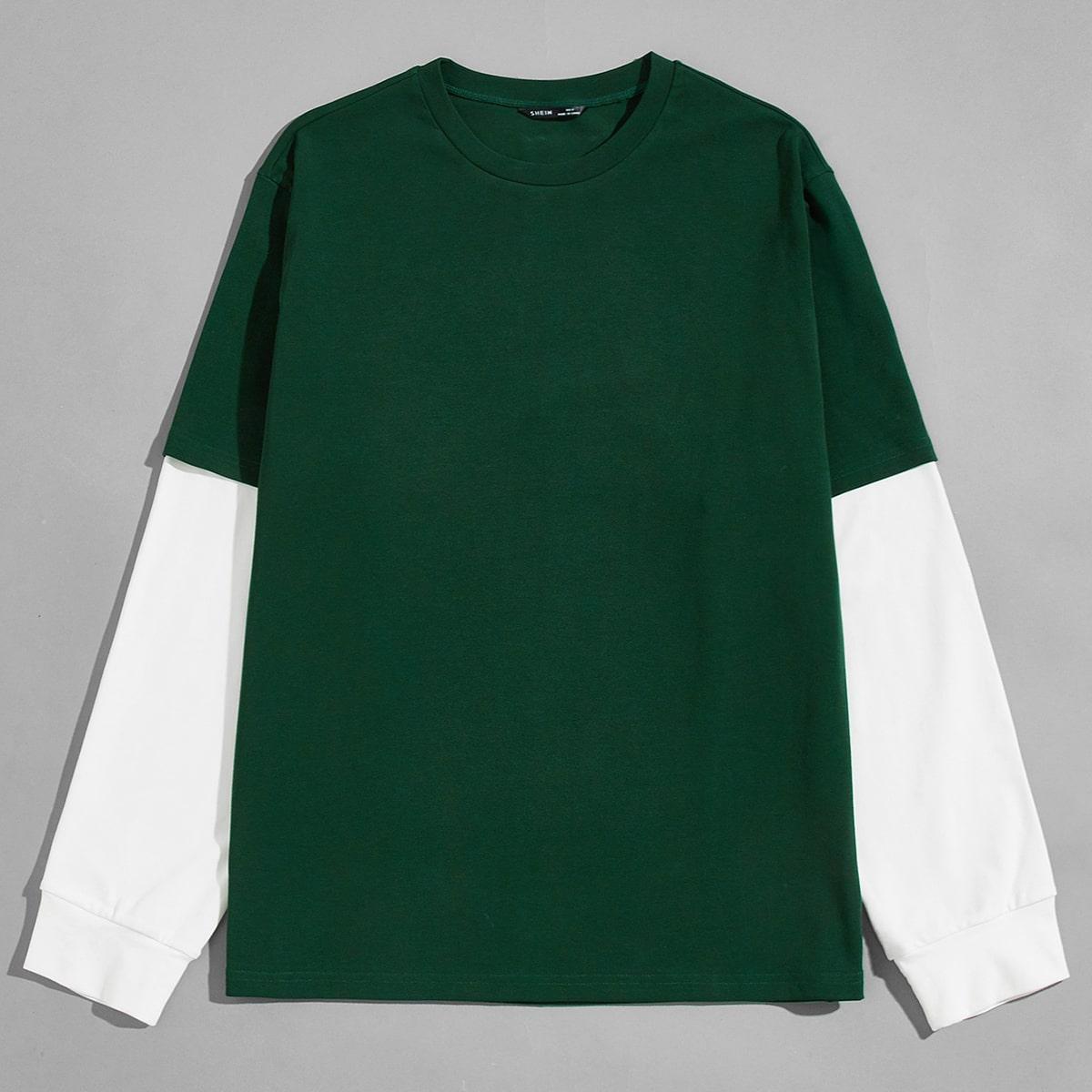 Мужская контрастная футболка 2 в 1 по цене 1 036