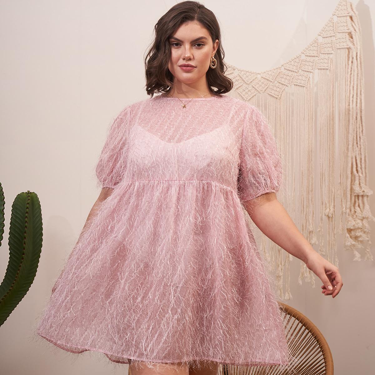 Однотонное трикотажное платье размера плюс по цене 870