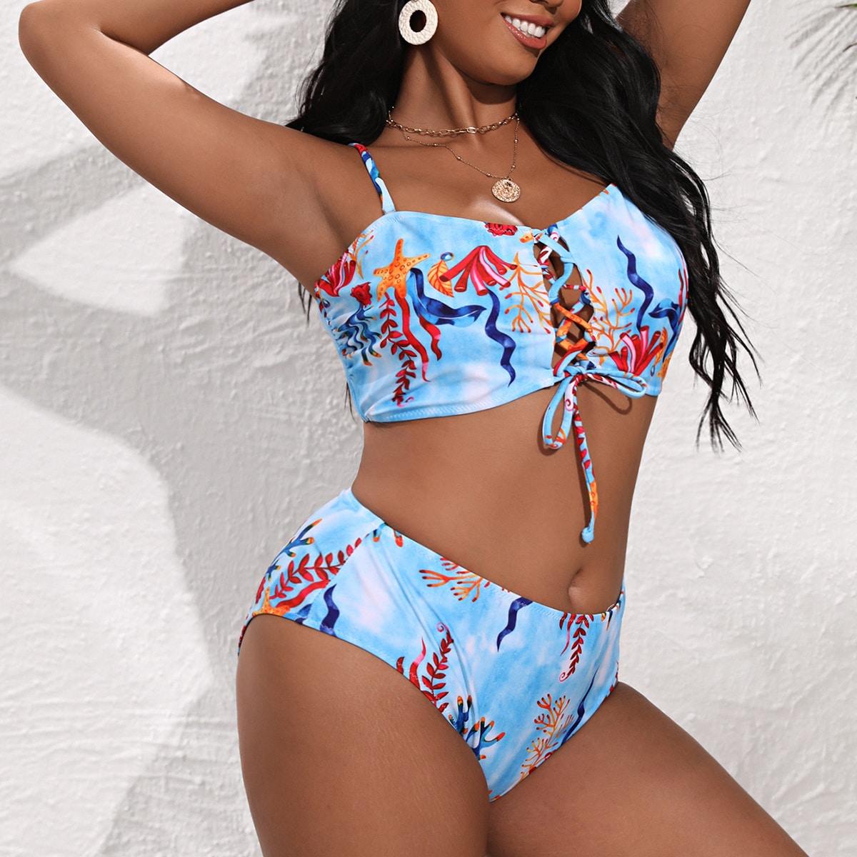 Bikini mit Meerespflanze Muster und Band