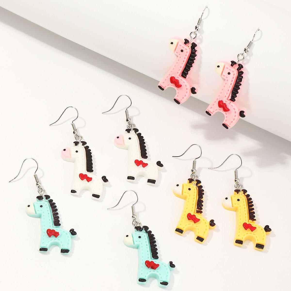 4 Paar Mädchen Ohrringe mit Tier Design