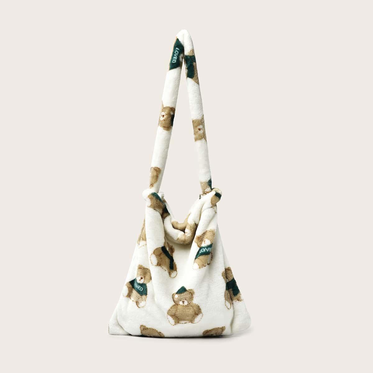 Плюшевая сумка-хобо с рисунком медведя