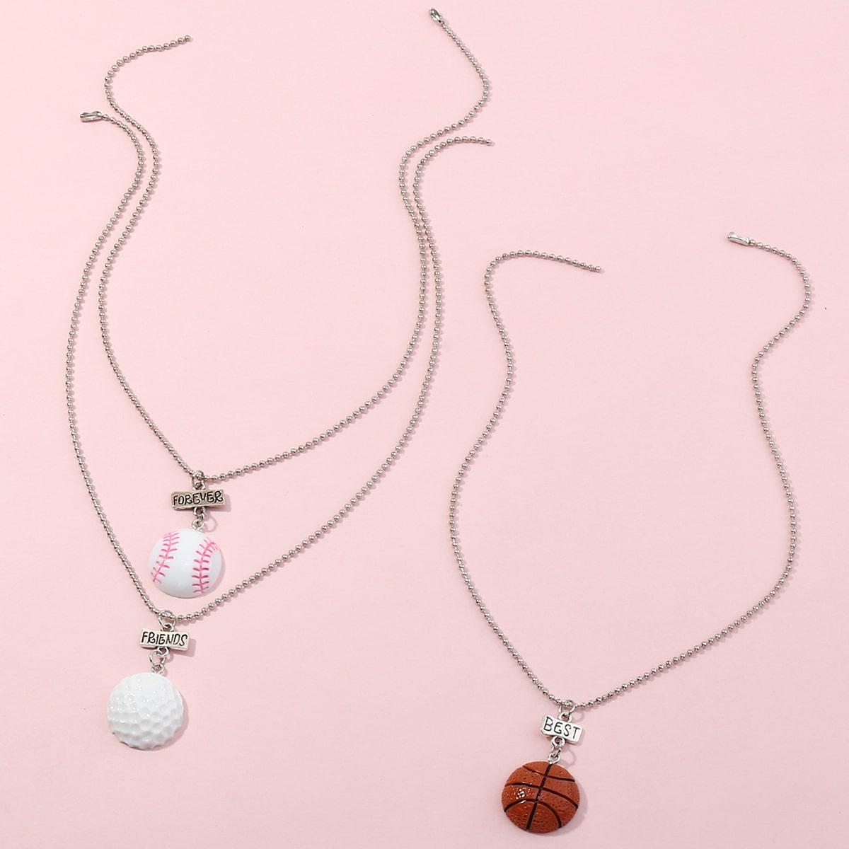 3шт ожерелье с баскетболом для девочек