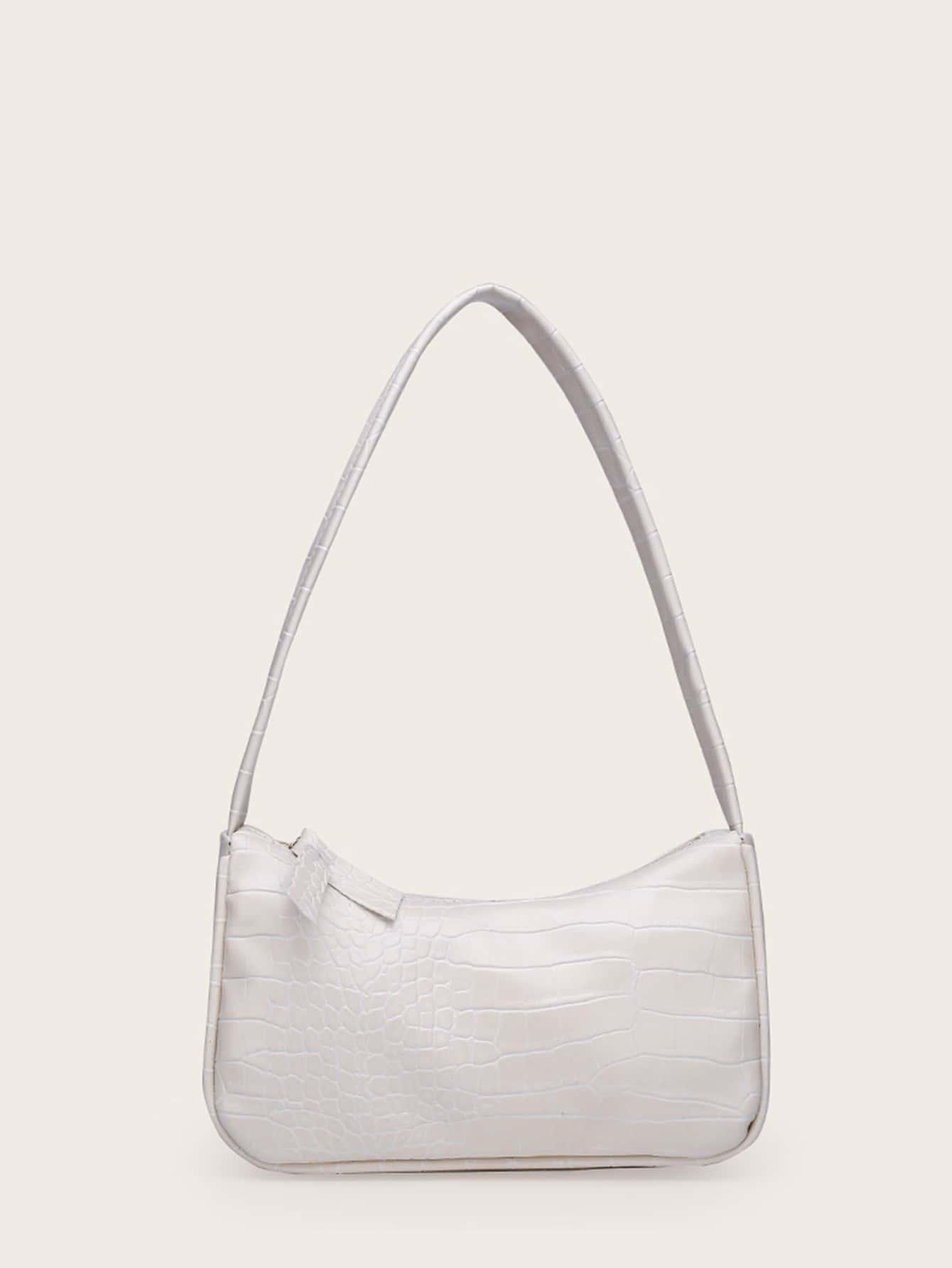 girls croc embossed shoulder bag