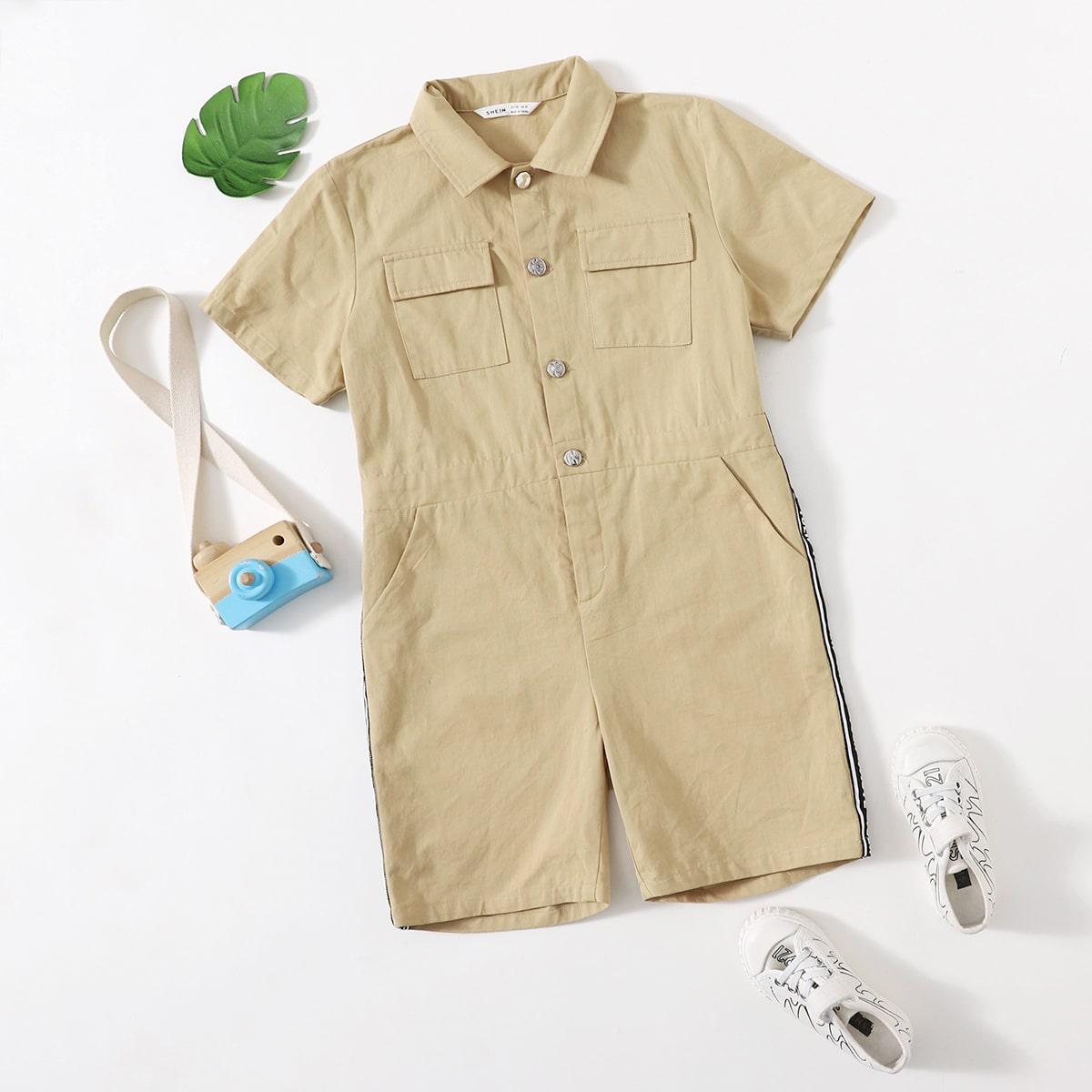 Комбинезон-рубашка с карманом и текстовой лентой для мальчиков
