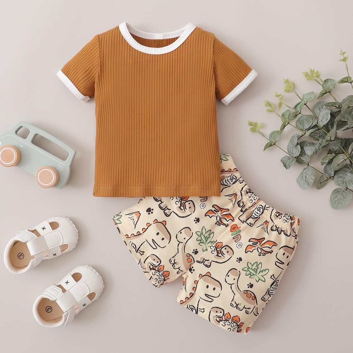 Rippenstrick t-Shirt mit Kontrast-Binde und Shorts mit Karikatur Muster
