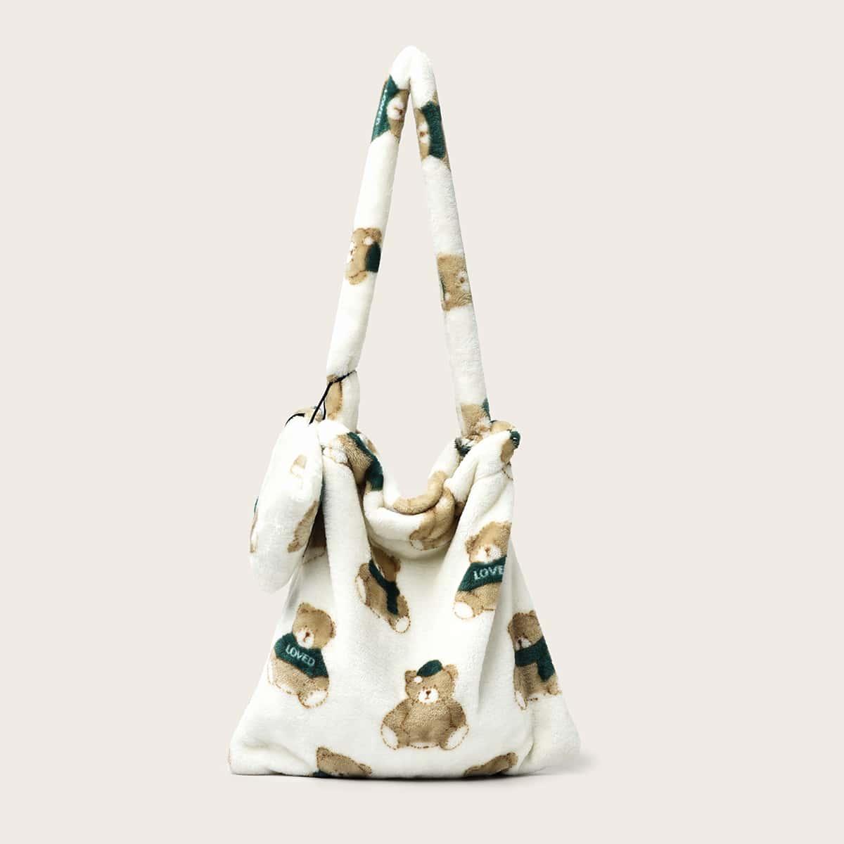 Плюшевая сумка-хобо с рисунком медведя и кошельком