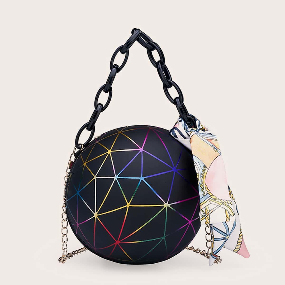 SHEIN / Twilly Scarf Decor Ball Shaped Chain Bag
