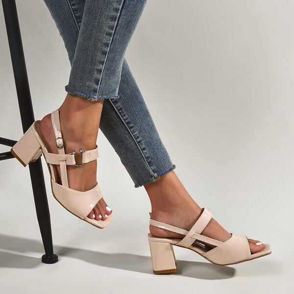 Open Toe Chunky Heeled Slingback Sandals, Apricot
