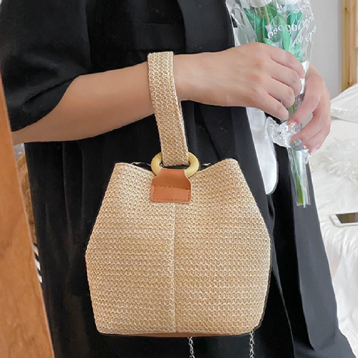 Плетеная сумка-ведро