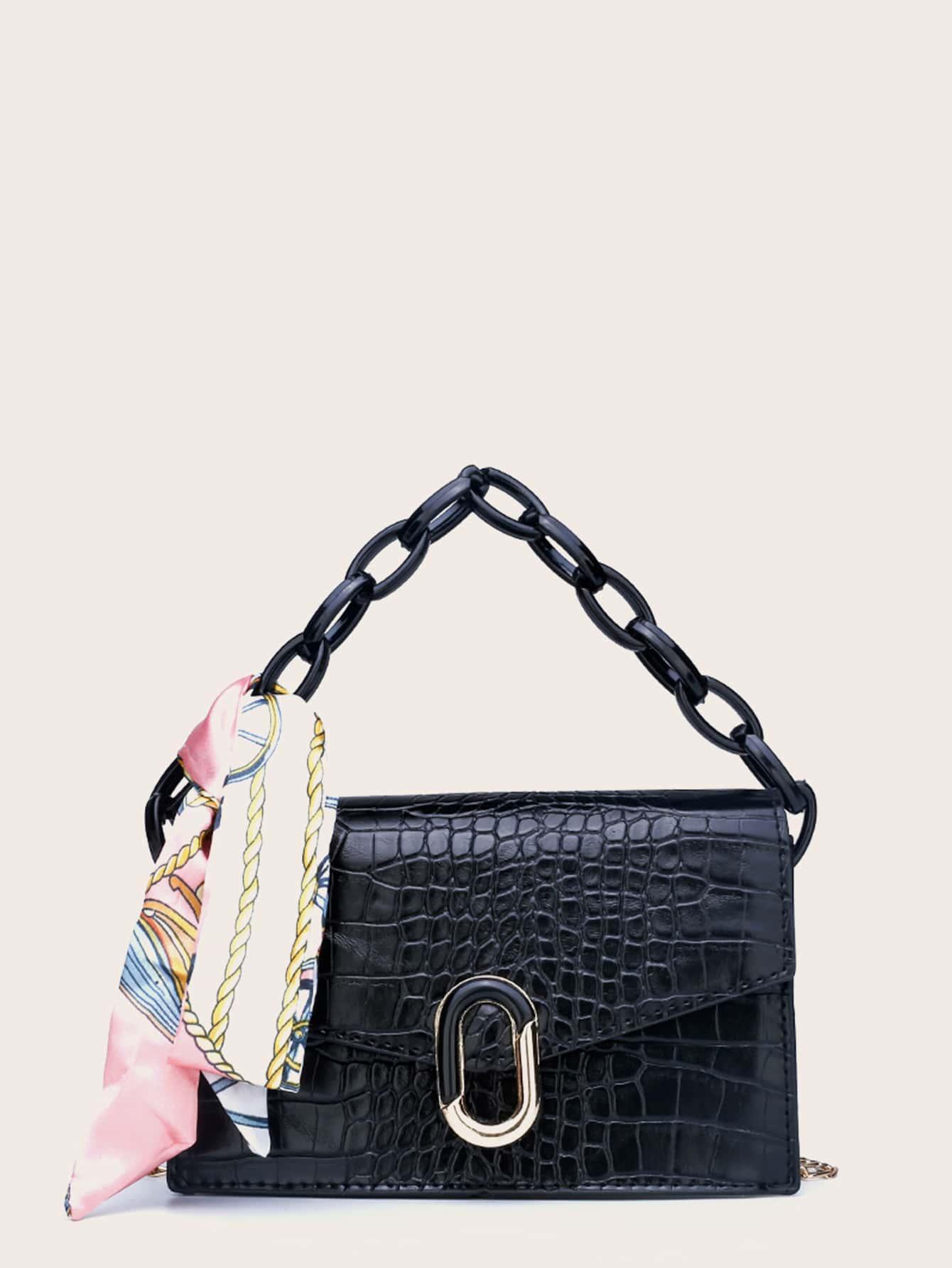 twilly scarf decor croc embossed satchel bag