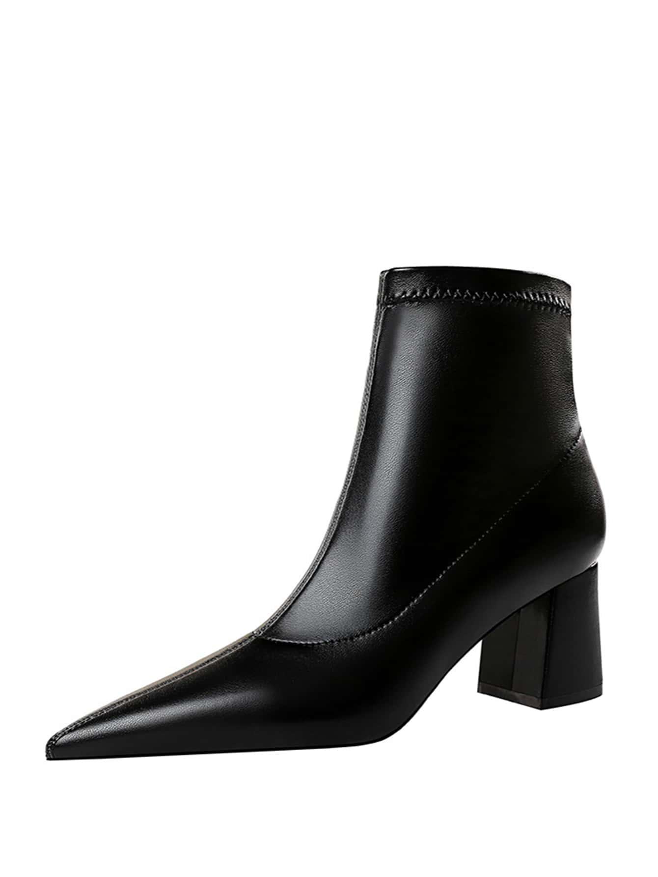 Point Toe Chunky Heeled Boots