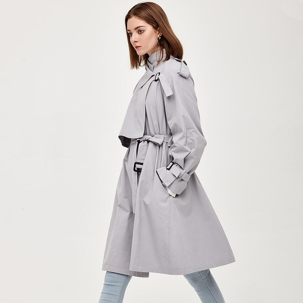 Wrap Belted Slant Pocket Trench Coat