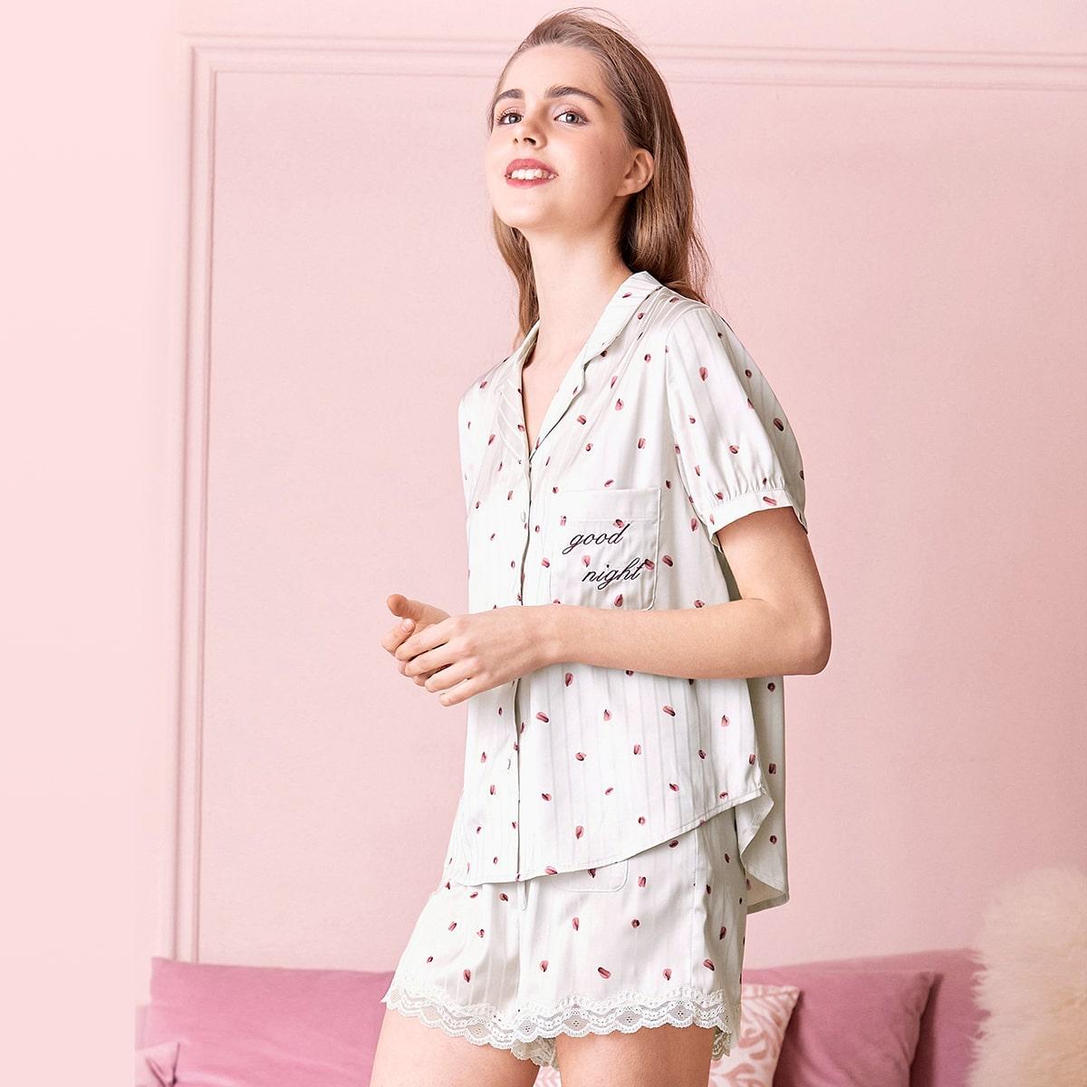 Пижама с текстовым принтом и карманом
