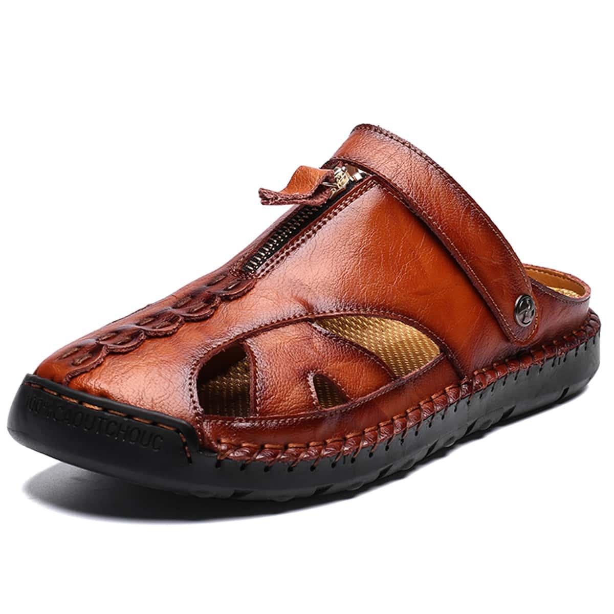 Мужские сандалии на молнии с открытой пяткой