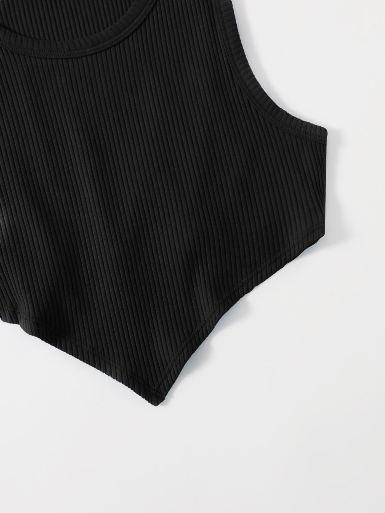 Asymmetrical Hem Rib-knit Crop Tank Top