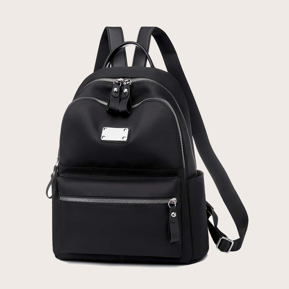 Metal Decor Zip Front Backpack