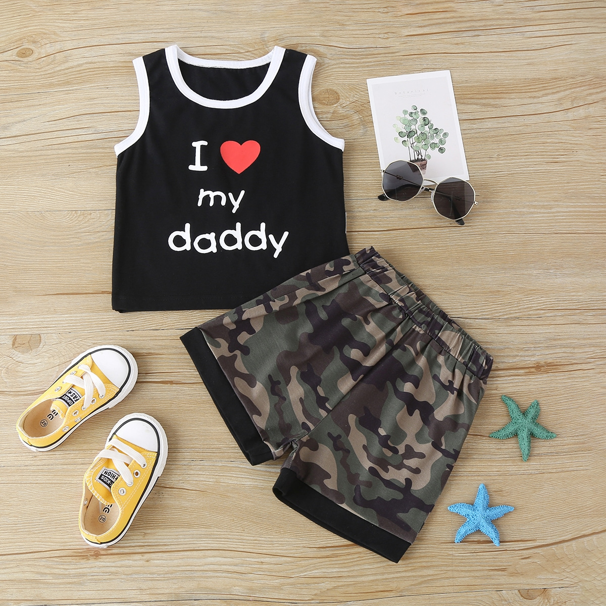 SHEIN Casual Camouflage Baby-setjes Contrasterende Zomen
