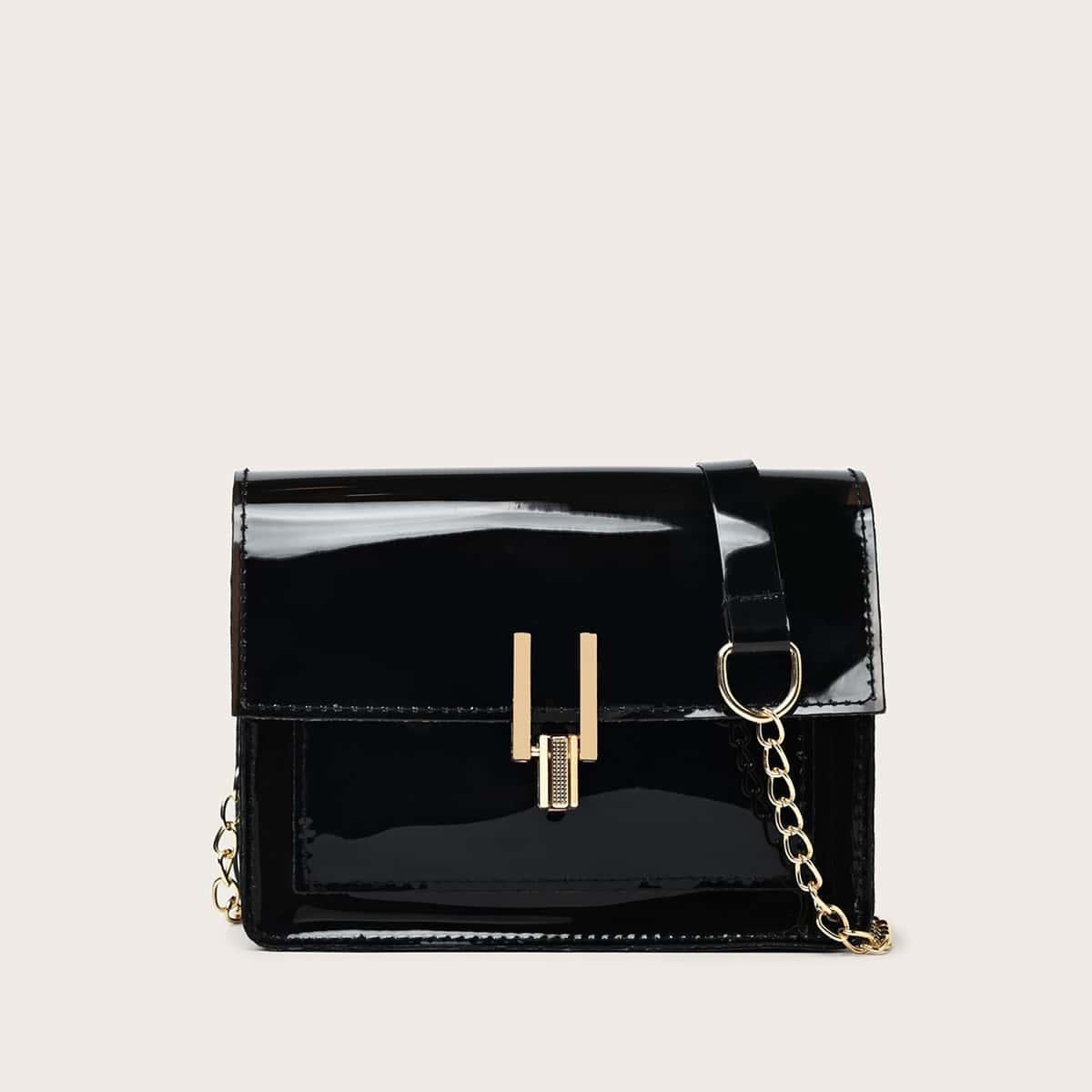 Patent Flap Chain Bag