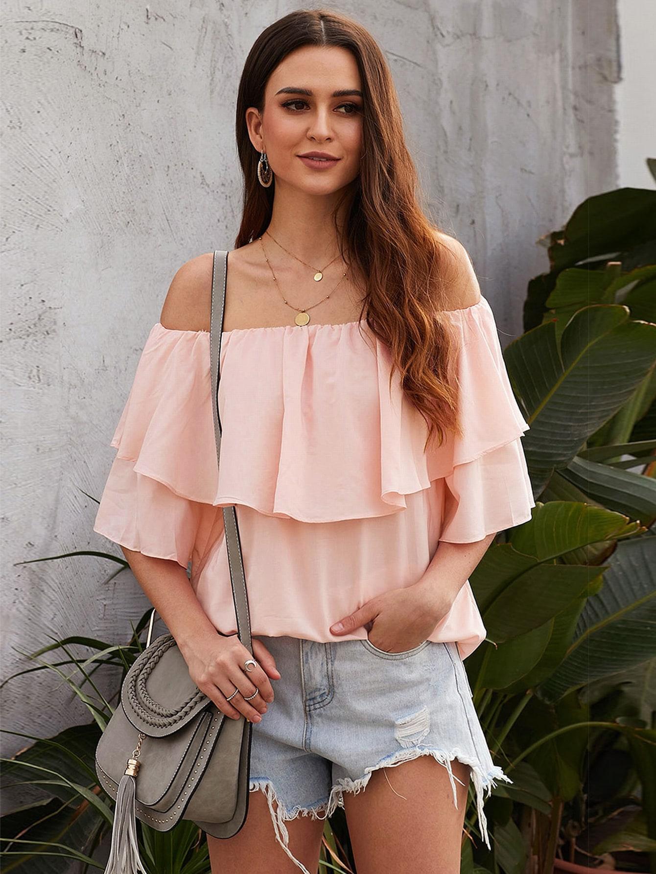ruffle trim off the shoulder blouse