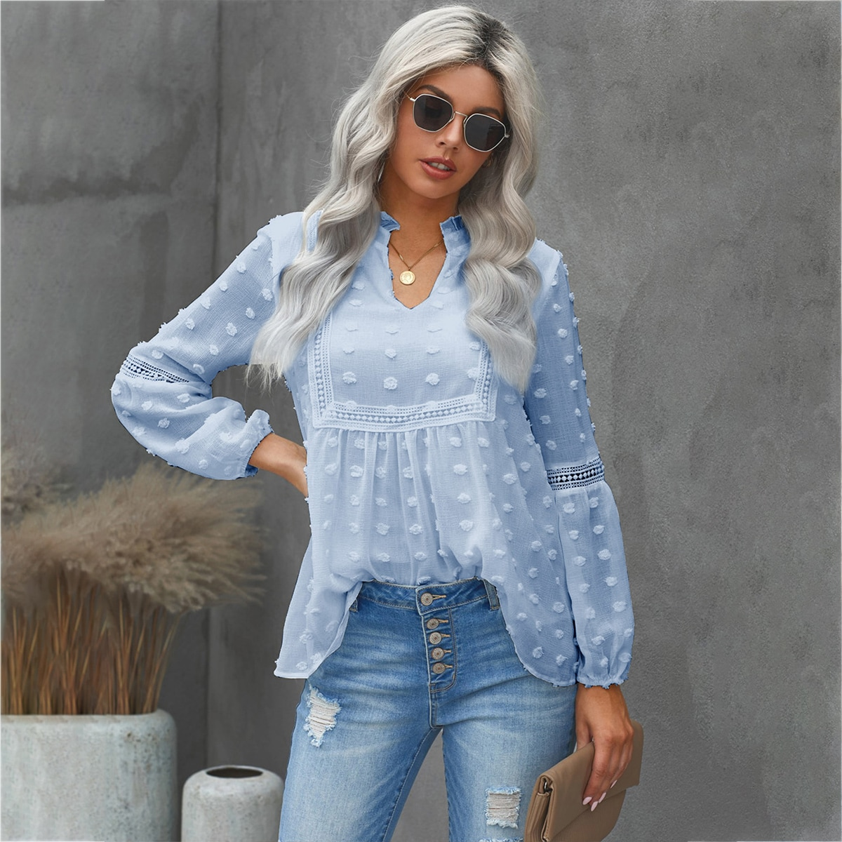Шифоновая блуза с кружевом SheIn swblouse23210223584