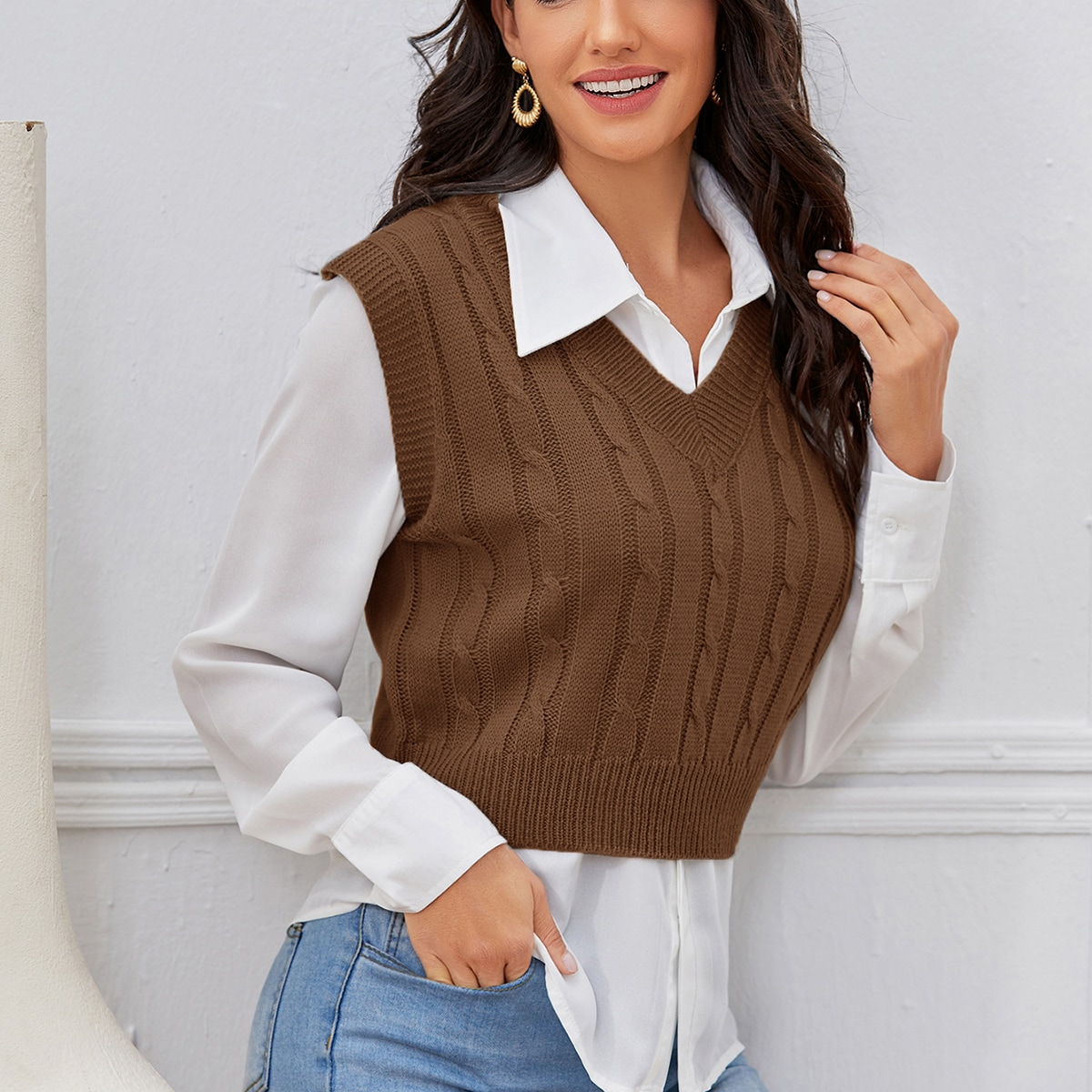 Cable Knit V-neck Sweater Vest Without Blouse, SHEIN  - buy with discount